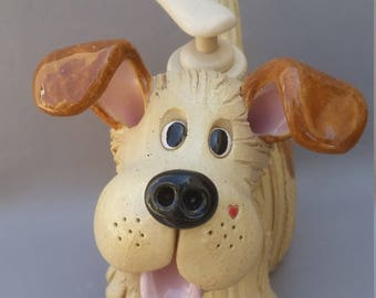 Dog business card holder, handmade, sculpted stoneware clay, original, ooak by Pencepets