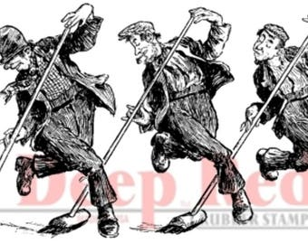 Deep Red Rubber Stamp Vintage Temed Street Sweepers Dancing