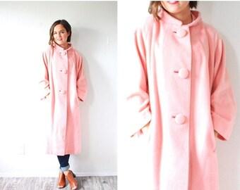 20% OFF JULY 4th SALE Vintage boho 1950's pink coat // pink overcoat jacket // large overcoat button down coat // cozy trench coat / pink ja