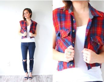 40% OFF CHRISTMAS in JULY Vintage Boyfriend Plaid  cut off top vest // red and blue checkered shirt // Mens plaid shirt // Long sleeve Mens