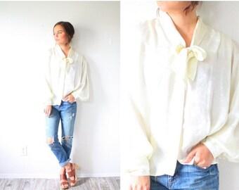 30% OFF SALE Vintage cream bow necktie long sleeve blouse // silk feel off white blouse // boho cream blouse top // ivory blouse fancy top /