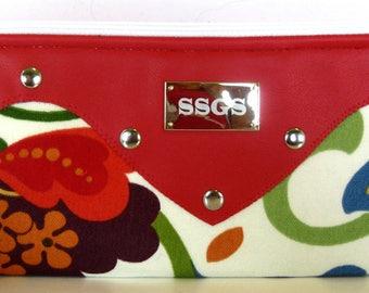 red flower clutch bag