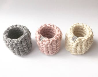 Mini Basket,Storage Basket,Brush Holder,Pen Holder,Home Decor,Bathroom Storage,Toy Storage,Farmhouse,Baskets,Decor,Storage,Knit,Crochet