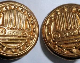 ESCADA Vintage 1990s Clip Gold Earrings HapaChico