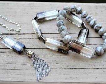 "GREY CZECH Glass Grey White Striated Beads Large Grey Rectangle Glass  Bracelet Set Matching 40"" Tassel  Necklace"