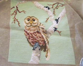 needlepoint owl for pillow cover needlework vintage needlework owl