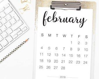 8.5 x 11 2018 Printable Calendar