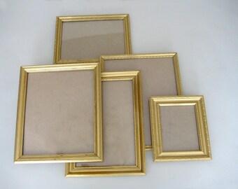 Wood Frames, Picture Frames, 5 Vintage Picture Frames, Wedding Decor, Mismatched Frames