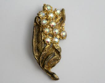 Vintage Gold Leaf Flower Brooch With AB Stones . Unsigned