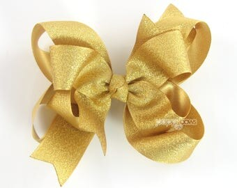 "Gold Hair Bow, 4"" gold hair bow, girls hair bow, metallic hair bows, 4 inch gold, baby hair bow, big gold hair bow, large, double layer"