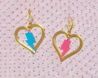 Colorful I <3 LIGHTNING BOLTS Mirror Gold Acrylic Earrings with Earring Hooks // Earwire