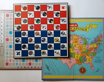 3 vintage board games board only | game boards for vintage book covers | junk journal covers | vintage game room decor | retro game room