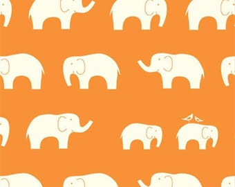 END Of BOLT ~~ 18 inches ~~ Ellie Fam Orange, Birch Organic, Mod Basics, Elephants, Modern Fabrics