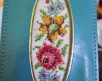 "WOW Vintage Leather PETIT POINT Bookmark/ Purse / Pocket Protector Teal with Flowers 4""L x 2 1/8W"