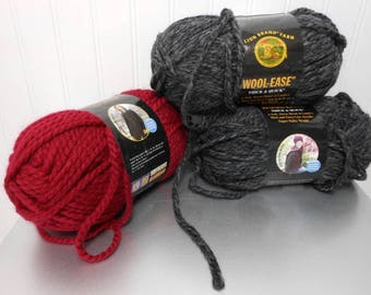 Wool Ease Thick & Quick Lion Brand Yarn 2 skeins Charcoal #149 1 Skein Cranberry #138 Acrylic Wool  6 OZ Each