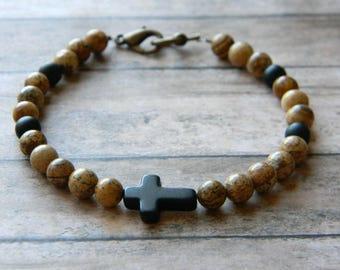 Mens bracelet beaded bracelet for men man bracelet picture jasper stone cross christian husband boyfriend guys jewelry fathers day gift