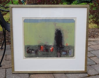 Mid Century Modern Abstract Modernist Lithograph titled Landscape with Rock and signed by listed artist Will Petersen