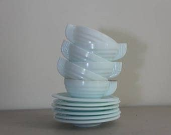 French Vintage Milk Glass Cups and Saucers Art Deco Pale Blue SET OF 6