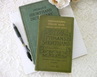 Vintage Pitman's  Phonographic Shorthand Phrase Book And  Pitman's Shorthand Dictionary