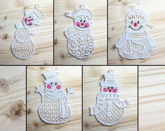 Cuddly Snowmen Pack 1 Machine Embroidered Lace Ornaments