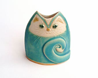 Turquoise Cat Vase small Unusual Handmade Pottery Vessel, cat lovers gift, handmade handbuilt stoneware pottery