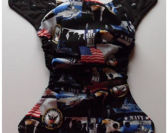 SassyCloth one size pocket diaper with US Navy patriotic cotton print. Ready to ship.