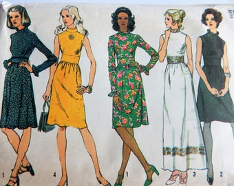 Vintage 1972 Simplicity Pattern 5095 HIGH NECK DRESSES Misses Size 16