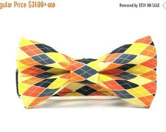 SALE Argyle Dog Collar   Colorful Halloween Argyle Collar and Bow Tie Set   Halloween Dog Collar and Bow Tie Set   Boy Dog Collar