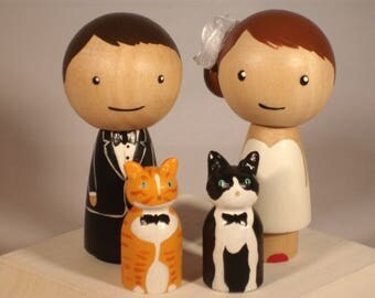 Amanda's Custom Indian Kokeshi Cake Toppers with Two Pets