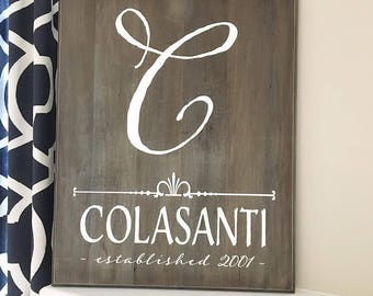 Last Name Stained Rustic Wooden Sign