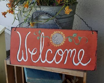welcome sign,home and living,primitive home decor,wreath sign,custom,country home decor,mothers day gift,front porch,front door welcome sign