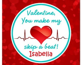 personalized valentine skip a beat tag printable or printed with free shipping - Isabella Valentine Free