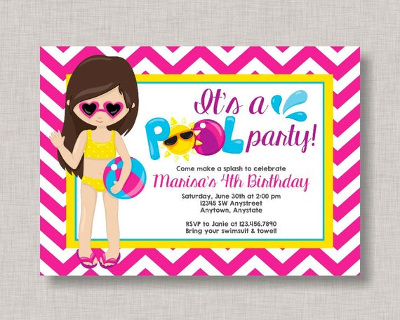 Pool Party Invitation Birthday Beach Summer Splash Pad Water Slide Girl Swim