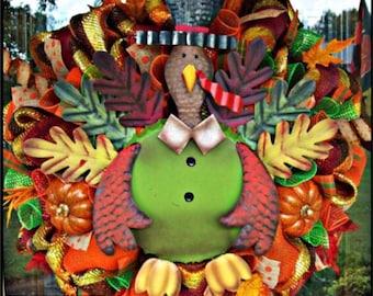 Thanksgiving Turkey Wreath, fall wreath, Thanksgiving wreath, deco mesh wreath, wreath, thanksgiving decor, autumn wreath