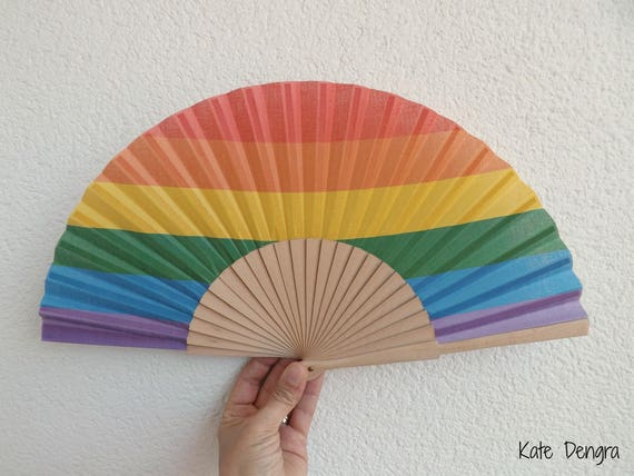 Rainbow Pride Wooden Spanish Hand Fan Limited Edition