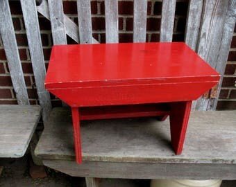 Vintage Wood Stool Bench Large Foot Step Stool, Plant Stand  Red