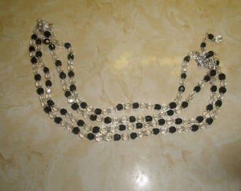 vintage necklace 4 strand black white glass beads
