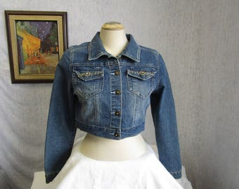 90s M XYou Denim Jean Jacket Cropped Beaded Blue