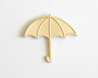 "Matte Gold Small Umbrella Lapel Pin // 1.25"" no enamel, cute fashion, gift for her"
