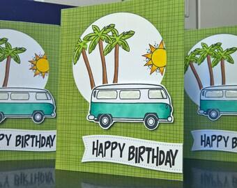 VW Birthday Card, Hippy Birthday Card, Summer Birthday Card for Guy, Beach Birthday Card , VW Bus, Hawaii Card, Ocean Birthday Card for Man