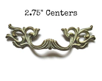 """Vintage French Provincial Drawer Pull 2.75"""" centers - Cream and Brass"""