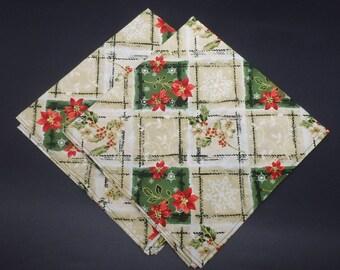 Christmas Dinner Napkins, Plaid Holiday Napkins, Hostess Gift, Christmas Gift, Christmas Wedding Gift