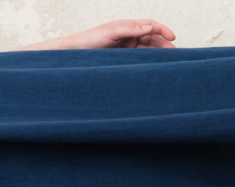 Indigo linen fabric Pure linen fabric Soft, pre-shrunk Navy blue linen flax fabric by half yard, Dark blue fabric
