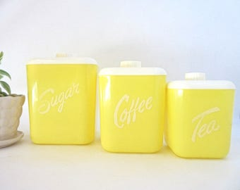 Vintage 1960s Canister Set LustreWare USA Plastic Yellow White Set of Three