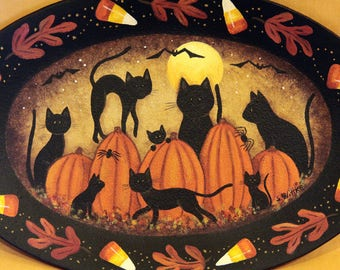 Halloween Folk Art Plate, Primitive Hand Painted, Black Cats, Pumpkins, Full Moon, Bats, Spiders  Candy Corn, Oval Fall Decor, MADE TO ORDER