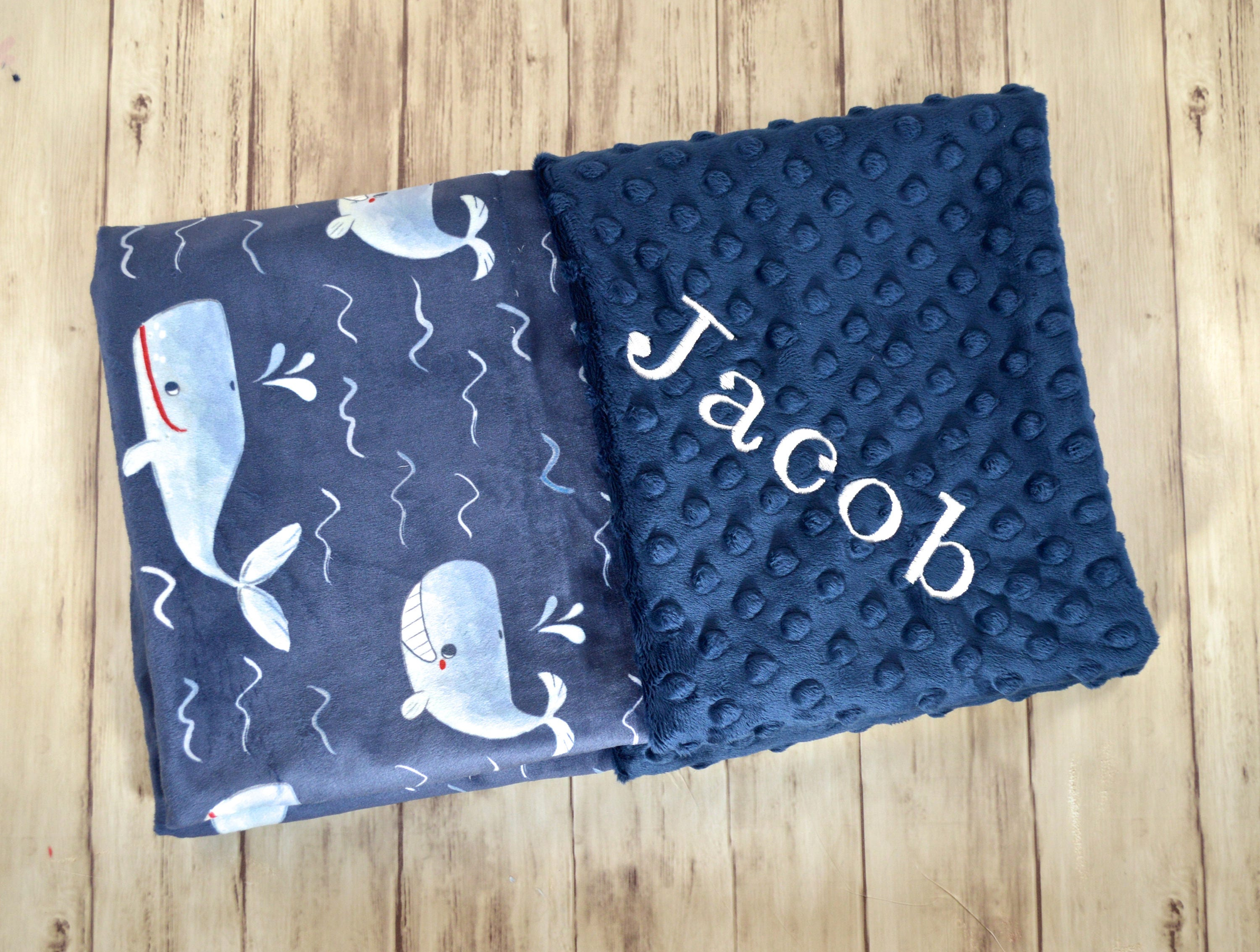 Monogrammed Baby Blanket Personalized Minky Navy Blue