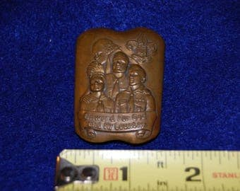 Boy Scouts of America 1940's Boy Scout Kerchief Slide Solid Copper Repousse Handkerchief Slide Retro Boy Scouts Memorabilia