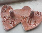 His and Hers ring dish, Mr. AND Mrs. Ring holder, Ring Catcher, We Do, Rustic Handmade Pottery, Wedding Gift, engagement gift, ring dish