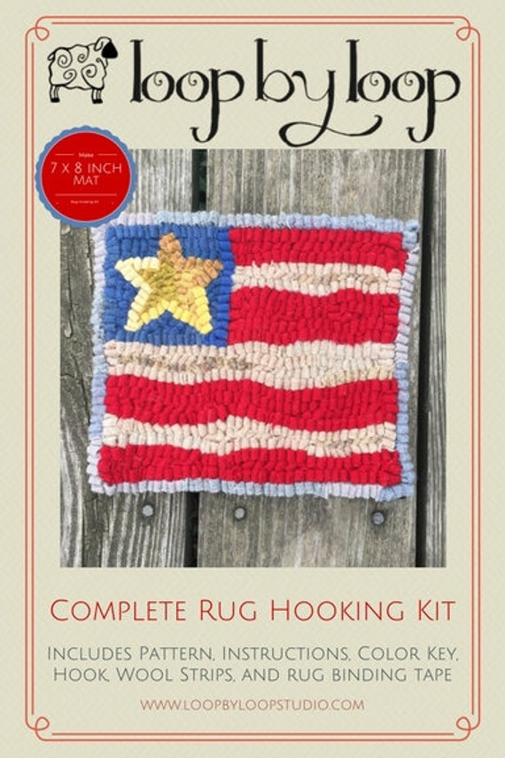 Patriotic Flag Complete Primitive Beginner Rug Hooking