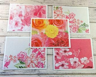 Note Card Set, Note Cards, Thank You Notes, Blank Cards, Set of 5 Note Cards with Matching Envelopes, Floral Note Cards, Floral Burst